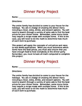 Dinner Party - Unit Rates