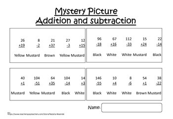 Dinosaur 1 - Addition and Subtraction Mystery Picture - Fun Math