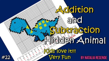 Dinosaur 2 - Addition and Subtraction Mystery Picture - Fun Math