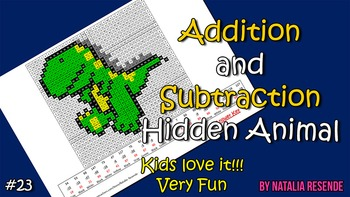 Dinosaur 3 - Addition and Subtraction Mystery Picture - Fun Math