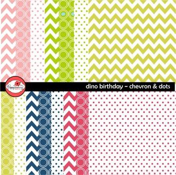 Dino Birthday Chevron and Dots Digital Paper by Poppydreamz