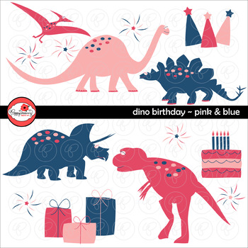 Dino Birthday Pink & Blue by Poppydreamz