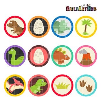 Dino Collage Clip Art - Great for Art Class Projects!