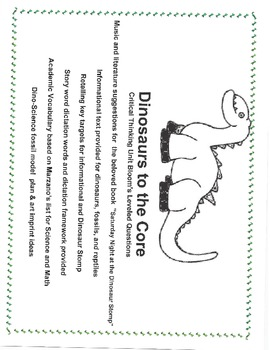 Dino Core ,Critical Thinking Unit, NF text, Dictation, Science
