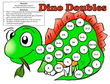 Dino Doubles - A 2-Player Game to Practice the Doubles Fac