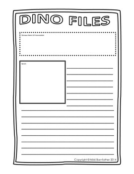 Dino Files - Research, Reading, Comprehension & Writing dino activity