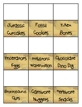 Dino Food Cards