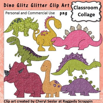 Dino Glitz Clitter Clip Art personal & commercial use Dinosaurs C Seslar