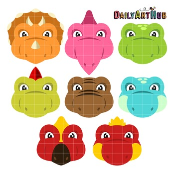 Dino Heads Clip Art - Great for Art Class Projects!