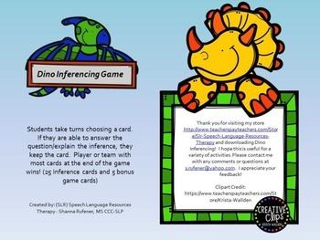 Dino Inferencing Game