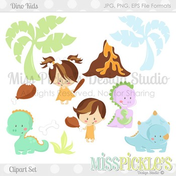 Dino Kids- Commercial Use Clipart Set