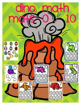 Dino Math Mats for 0 - 10: A Numbers Recognition Activity