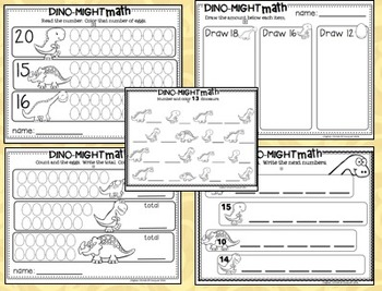Dino-Might Math!  Counting & Cardinality 0-20. CCSS Aligned