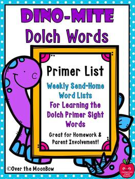 Dino-Mite Dolch Words Homework Pack | Primer List | Editable