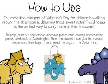 Dino-Mite Valentine's Day Treat Bags