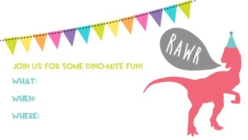 Dino Party Invitation - Editable PDF