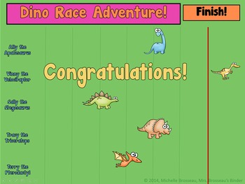 Dino Race Adventure: Dinosaur Themed PowerPoint Review Game for ANY Subject!