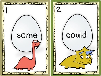 Dino Sight Word Egg Hunt Dolch Level 1 First Grade