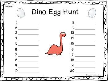 Dino Sight Word Egg Hunt Dolch Level 3 Third Grade