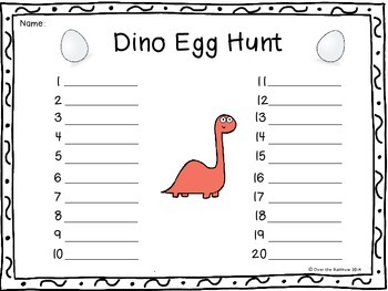 Dino Sight Word Egg Hunt Dolch Level PP Pre Primer