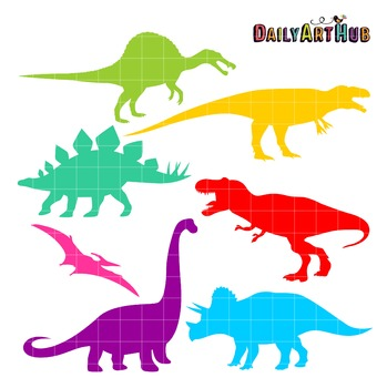 Dino Silhouettes Art Clip Art - Great for Art Class Projects!
