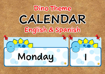 Dino Theme Push Pin Calendar