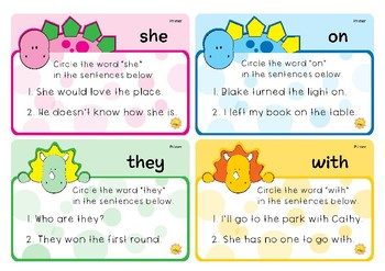 Primer Sight Words - Dino Theme Circle the Word Task Cards