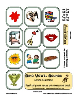 Dino Vowel Sounds - Sound Matching File Folder Game- Kindergarten, SPED, Autism