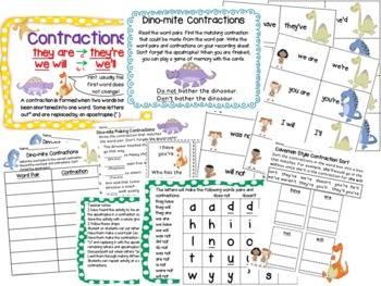 Contractions Forming and Using Dino-mite Common Core