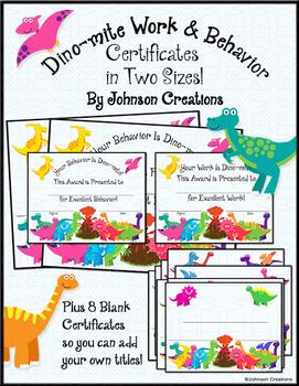 Dino-mite Work & Behavior Certificates in Two Sizes!