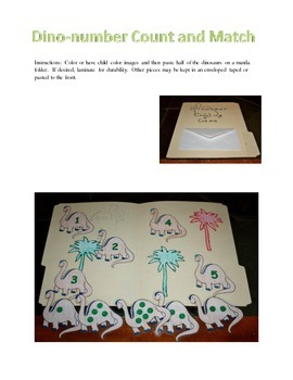 Dino-number Count and Match Folder Game