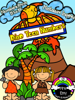 Dino teen Numbers flash cards and centers [Montessori Inspired].