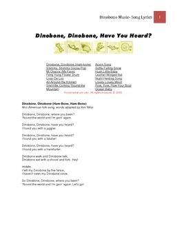 Dinobone CD - Complete Lyrics