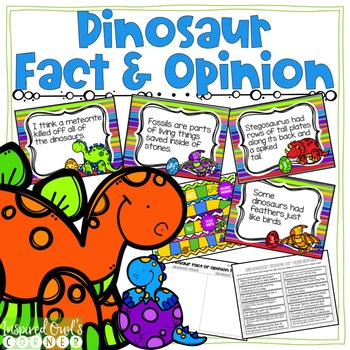 Dinosaur Fact and Opinion Task Cards and Activities Pack