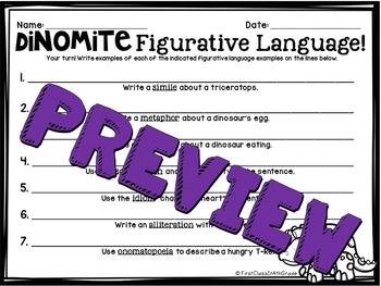 Dinomite Figurative Language (Dinosuar Literary Device Unit)