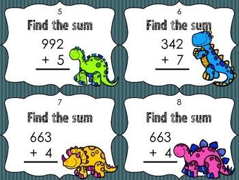 """Dino""mite addition 3 digit + 1 digit addition Task Cards"