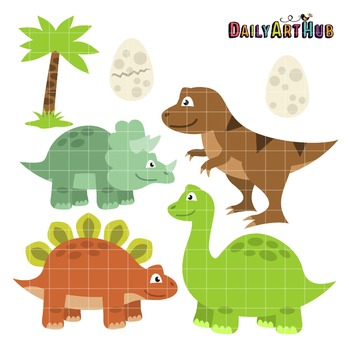 Dinos Clip Art - Great for Art Class Projects!