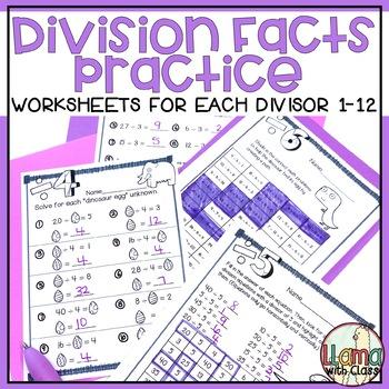 Division Worksheets for each Divisor 1-10 {Dinos Dig Division}