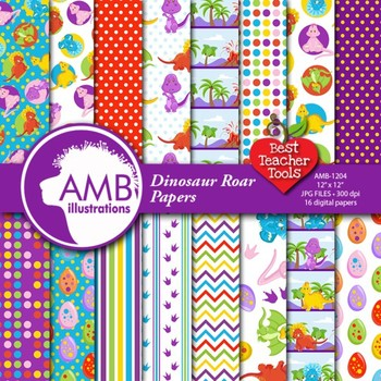 Dinosuar Digital Papers, Baby Dino Backgrounds, { Best Teacher Tools } AMB-1204