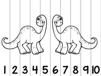 Dinosaur 1-10 Number Puzzle-- Printer Friendly!