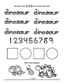 Dinosaur - 1 page worksheet - Distance Learning