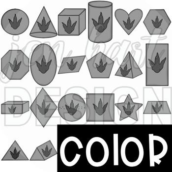 Dinosaur 2D & 3D Shapes Clip Art {jen hart Clip Art}