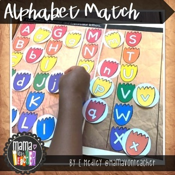Early Literacy File Folder Game, Alphabet Match, Dinosaur Prints