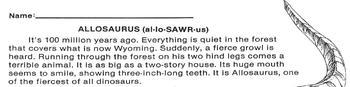 Dinosaur: ALLOSAURUS Info Text + 4 Multiple Choice Reading Comprehension Qs