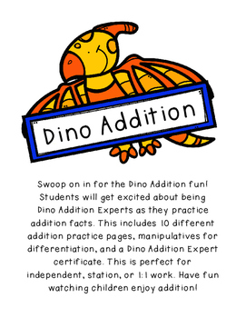 10 Page Dino Addition-Up to 10, Differentiated Practice, C