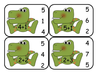 Dinosaur  Addition Clip Card Math Center