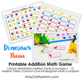 ★ Dinosaur Math - Learn Addition game - Editable PDF