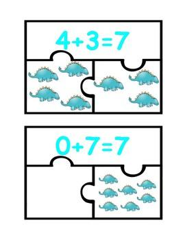 Dinosaur Addition Puzzles-Rompecabezas de sumas con dinosaurios (0-10)