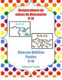 Dinosaur Addition Puzzles-Rompecabezas de sumas con dinosa