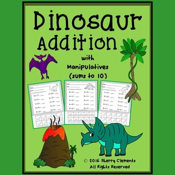 Dinosaur Addition with Manipulatives (sums to 10)